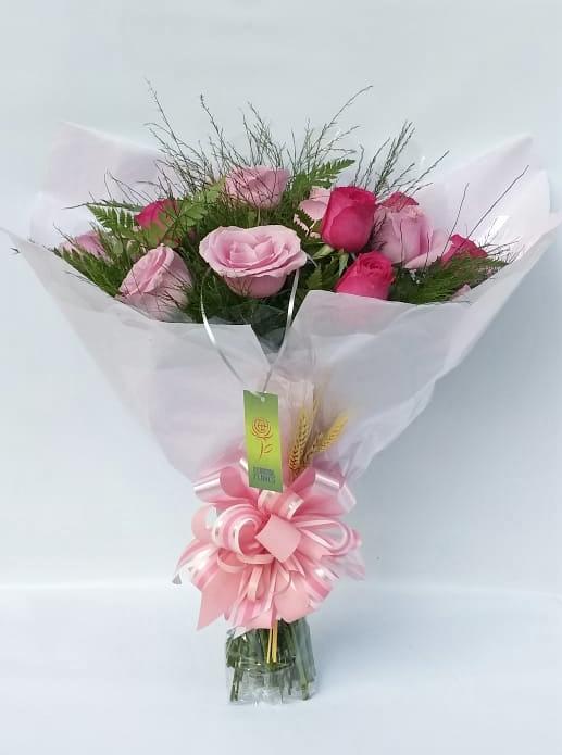 Buquê 12 Rosas Cor De Rosa